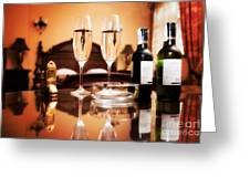 Luxury Interior Hotel Room With Elegant Service Greeting Card by Michal Bednarek