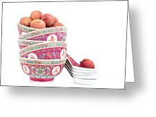 Lychees In Bowls With Spoons Greeting Card by Jane Rix