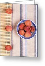 Lychess With Bamboo Mat Greeting Card by Jane Rix
