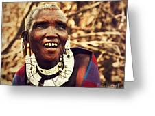 Maasai Old Woman Portrait In Tanzania Greeting Card by Michal Bednarek