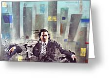 Mad Men Disintegration Of Don Draper Greeting Card by John Lyes