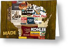 Made In Wisconsin Products Vintage Map On Wood Greeting Card by Design Turnpike
