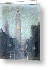 Madison Avenue At Twilight Greeting Card by Lowell Birge Harrison