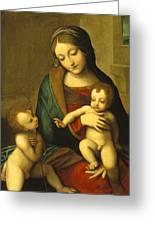 Madonna And Child With The Infant Saint John Greeting Card by Antonio Allegri Correggio