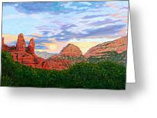 Madonna and Nuns - Sedona Greeting Card by Steve Simon