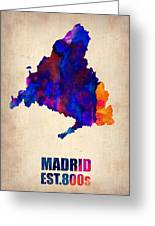Madrid Watercolor Map Greeting Card by Naxart Studio