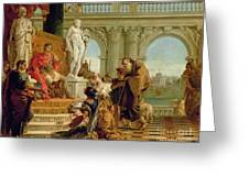 Maecenas Presenting The Liberal Arts To The Emperor Augustus Greeting Card by Giovanni Battista Tiepolo