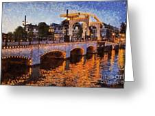 Magere Brug Bridge In Amsterdam Greeting Card by George Atsametakis