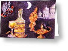 Magic Lamp Wine Greeting Card by Candace  Hardy