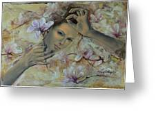 Magnolias Greeting Card by Dorina  Costras