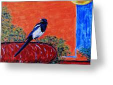 Magpie Singing At The Bath Greeting Card by Xueling Zou