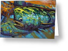Mahi At Sunset Greeting Card by Savlen Art