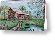 Mail Pouch Tobacco Barn Greeting Card by Lena Auxier