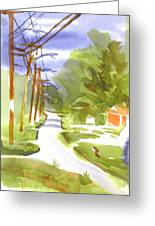 Main Street On A Cloudy Summers Day Greeting Card by Kip DeVore