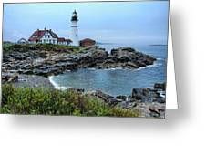 Maine Morning At Portland Head Light Greeting Card by Carolyn Fletcher