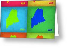 Maine Pop Art Map 1 Greeting Card by Naxart Studio