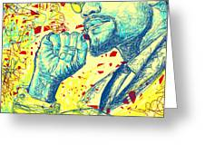 Malcolm X Drawing In Lines Greeting Card by Kenal Louis