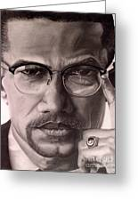 Malcolm X Greeting Card by Wil Golden