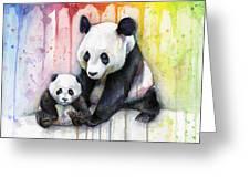 Panda Watercolor Mom And Baby Greeting Card by Olga Shvartsur