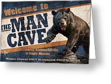 Man Cave Balck Bear Greeting Card by JQ Licensing