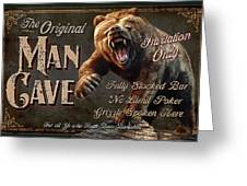 Man Cave Grizzly Greeting Card by JQ Licensing