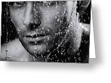 Man face wet from water running down it Black and white Greeting Card by Oleksiy Maksymenko