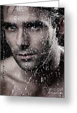 Man Face Wet From Water Running Down It Greeting Card by Oleksiy Maksymenko