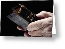 Man Hands Holding Old Bible Greeting Card by Olivier Le Queinec