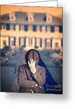Man In Front Of Mansion  Greeting Card by Edward Fielding