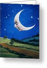 Man In The Moon Greeting Card by Carol Heyer