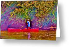 Man On River Greeting Card by Hominy Valley Photography