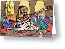 Man Playing A Sitar Greeting Card by Anthony Falbo