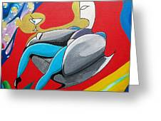 Man Sitting In Chair Greeting Card by John Lyes