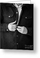 Man Unbuttoning His Shirt Greeting Card by Edward Fielding