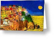 Manarola By Night Greeting Card by George Rossidis