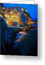 Manarola Lights Greeting Card by Inge Johnsson