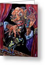Mangiafuoco - Teatro Pinocchio Burattino - Stromboli Puppet Master And Harlequin Greeting Card by Arte Venezia