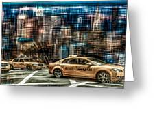 Manhattan - Yellow Cabs - Future Greeting Card by Hannes Cmarits