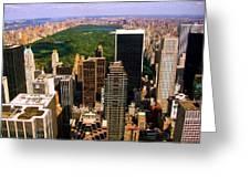 Manhattan and Central Park Greeting Card by Monique Wegmueller