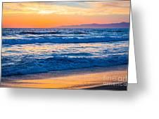 Manhattan Beach Sunset Greeting Card by Inge Johnsson