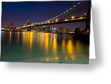 Manhattan Bridge Greeting Card by Mircea Costina Photography
