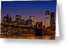 Manhattan By Night Greeting Card by Melanie Viola
