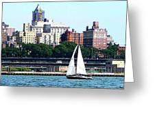Manhattan - Sailboat Against Manhatten Skyline Greeting Card by Susan Savad