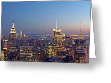Manhattan Skyline from the Top of the Rock Greeting Card by Juergen Roth