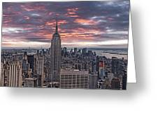 Manhattan Under A Red Sky Greeting Card by Joachim G Pinkawa