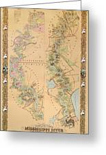 Map Depicting Plantations On The Mississippi River From Natchez To New Orleans Greeting Card by American School