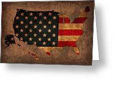 Map Of America United States Usa With Flag Art On Distressed Worn Canvas Greeting Card by Design Turnpike