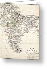 Map Of India Greeting Card by Alexander Keith Johnson