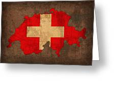 Map Of Switzerland With Flag Art On Distressed Worn Canvas Greeting Card by Design Turnpike