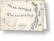 Map Of The Battle Of Trafalgar Greeting Card by Alexander Keith Johnson